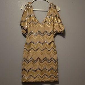 tight zigzag glitter dress